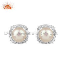 Zircon Natural Pearl Gemstone Sterling Silver Earring Jewelry