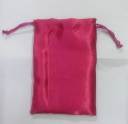 Pink Satin Pouch Bag
