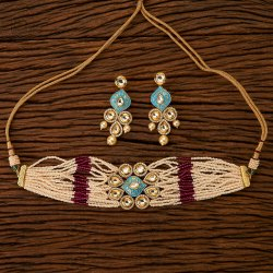 Kundan Gold Plated Choker Necklace Set 300078