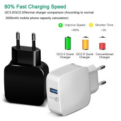 White Apple USB Wall Charger Qualcomm Quick Charge 3.1 Amp Fast Charger, for Mobile Charging