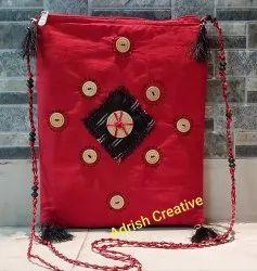 Cotton Red Handmade Sling Bag
