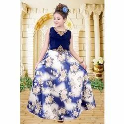 Velvet Blue and White Printed Girls Gown, 80-120, Size: 36-40