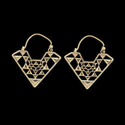 Geometric Hoop Design Brass Earrings For Women