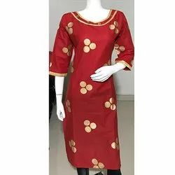 Red Gold Printed  Embroidery Kurti