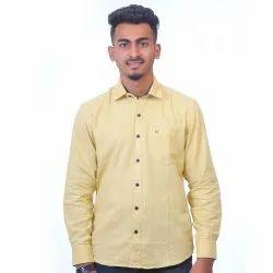 Mens Formal Light Yellow Shirt