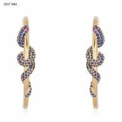 Gemstone Snake Hoop Earrings
