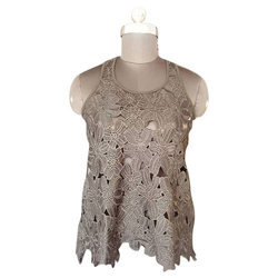 Casual Half Sleeves Plain Lace Top