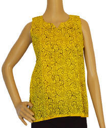 Hand Block Printed Yellow Top