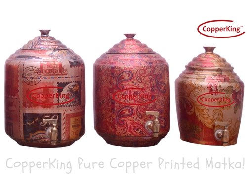 Copper King Printed Copper Matka / Pot