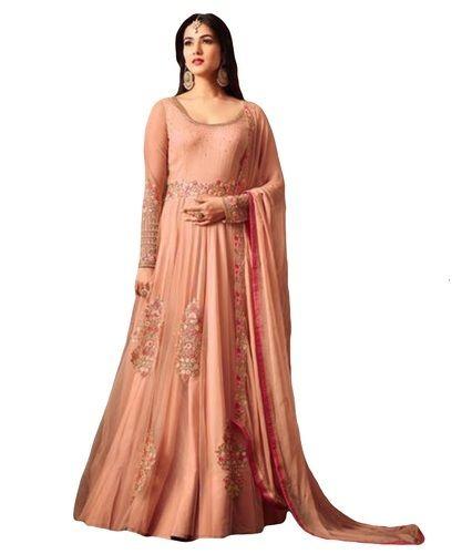 ce53ab6f1 Net Peach Color Women's Party Wear Anarkali Suits, Rs 3260 /piece ...