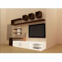 White and Brown Free Unit Wooden TV Cabinet