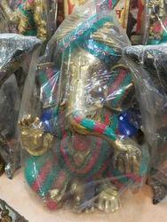 Brown, Golden (Gold Plated) Brass Ganesha Stone Statue