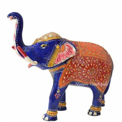 Metal Meenakari Elephant T/UP Statue