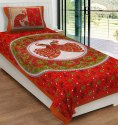 Peacock Print Cotton Single Bedsheet