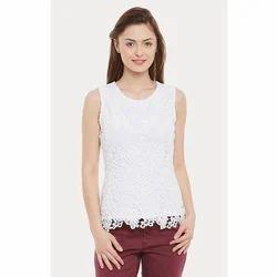 Ladies Rayon White Sleeveless Top, Size: S - XL