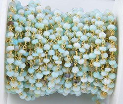 Peruvian Opal Beaded Wire Wrapped Rosar Chain