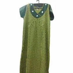 Green Stitched Ladies Cotton Nighty, Size: Xl