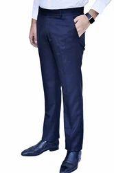 Blue Lycra Men's Formal Pant