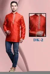 Embroidered Red Mens Short Kurta