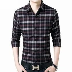 Cotton Mens Party Wear Check Shirts