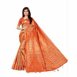 306 Orange Art Silk Saree