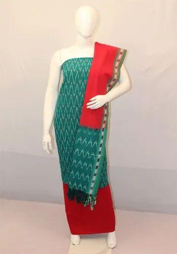 Regular Hand Woven Ikkat Cotton Unstitched Salwar Suits