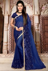 Royal Blue Embroidered Wedding Wear Saree