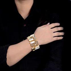 Gold Plated Citrine Quartz Statement Bracelet