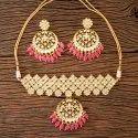 Peach Gold Plated Kundan Choker Necklace 300438, Size: Regular