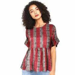 Round Neck Printed Ladies Fancy Top, Size: S-XXL