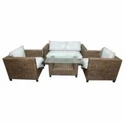 Universal Furniture Bamboo Cane Sofa Set with Table & Cushion