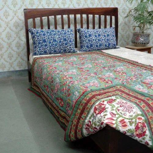 Block Printed Jaipuri Razai - Stuffed Cotton - Twin Quilts (Single Size)