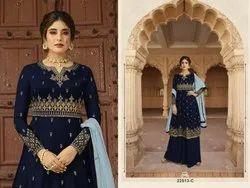 Embroidered Mix Georgette Satin Salwar Kameez, Size: Free