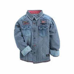 Cotton Regular Wear, Party Wear Kids Check Shirt