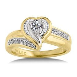 Golden Engagement And Wedding Ring