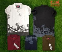 Cotton Printed Collar T-shirts, Size: Medium