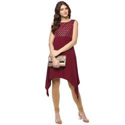 Ladies Irregular Maroon Crepe Kurtis
