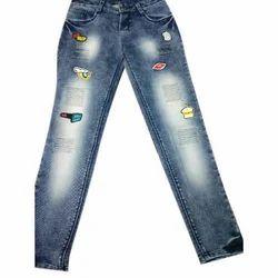 Button Denim Fancy Jeans, Waist Size: 30 And 32