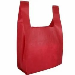 Handled Red Non Woven Carrier Bag