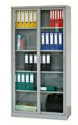 Gray Metal File Storage With Glass Door, For Commercial
