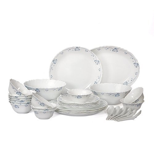Printed Cello Imperial Dinner Set Dainty Blue, Microwave Safe: Yes, Size: 27/19/13