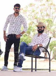 White Nahar Magra Cotton Bagru Print Mens Shirt, Size: Medium Large X-large 2x-large