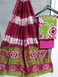 Bagru Hand Shibori Print Chanderi Dress Materials