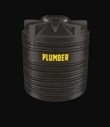 Black Cylindrical Vertical Water Storage Tank