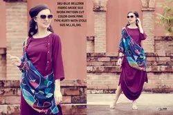 Rachna Bluebell Mode Silk Pattern Cut Kurti with Stole 7