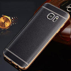 Black Leather Plated Mobile Cover