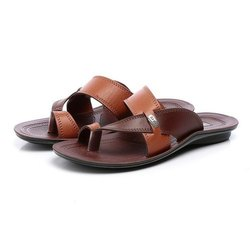 Mens Tan Brown Synthetic Leather PU Slipper