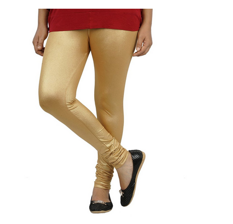 Golden Churidar Shimmer Fabric Womens Leggings