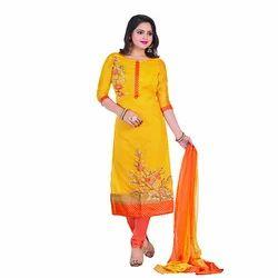 Semi-Stitched Chanderi Festive Churidar Suits