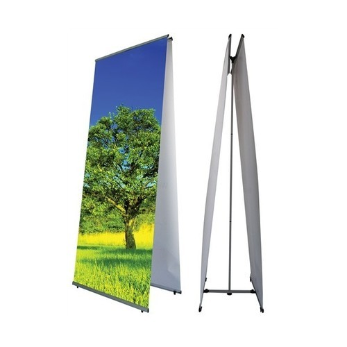 White Silver Finish Double Banner Stand for Indoor Advertisement